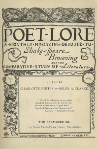 First Issue of Poet Lore